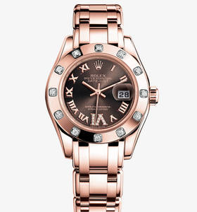 Replica Rolex Lady-Datejust Pearlmaster Watch: 18 ct Everose gold – M80315-0013
