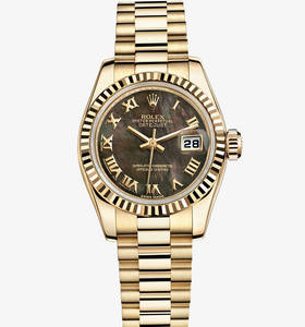 Replica Rolex Lady-Datejust Watch: 18 ct yellow gold – M179178-0024