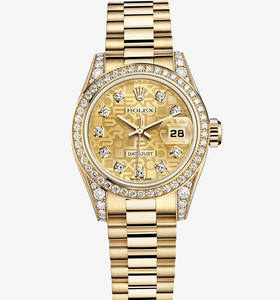 Replica Rolex Lady-Datejust Watch: 18 ct yellow gold – M179158-0030